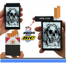 Grey Skull Cigarette Case Built On Lighter Holder Kings 100's Ryo