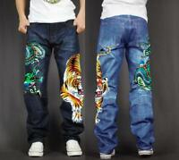 Men's Long Pants Skate Baggy Loose Rap Hip Hop Jeans Denim Print Trousers tiger