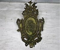 Antique Brass Ornate plaque Church Virgin Child Angel Collector Wall Hanging HTF