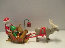 Playmobil Christmas SANTA + ELF + GOLD SLEIGH + GRAY REINDEER IN HARNESS + SACK