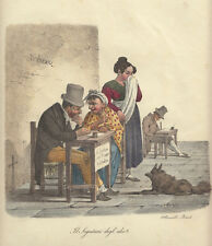 Il segretario degli idioti, 1827  Morner Cuciniello e Bianchi lito acquarellata