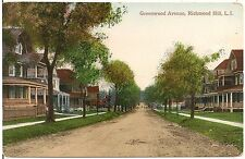 View on Greenwood Avenue in Richmond Hill, Long Island NY Postcard
