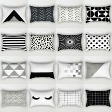 Black white Cushion Cover Polyester Pillows shams case Cover For Sofa Home Decor