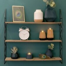 Industrial Style Metal Wood Zig Zag Wall Shelf Storage Display Unit Vintage