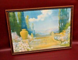 "R. Atkinson Fox Framed Stairway & Mountain Print - ""Dreamland"" - Bendien Inc NY"
