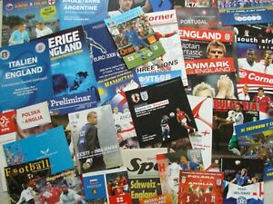 Collection of 38 different ENGLAND AWAY football programmes 1999 to 2017