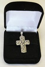Vintage 925 Sterling Silver China Cross Pendant small Rhinestone signed EA