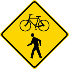 3M HIA Reflective BICYCLE/PEDESTRIAN CROSSING Road Sign - DOT Compliant 30 x 30