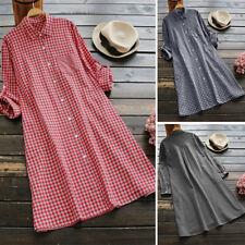 ZANZEA 8-24 Women Tunic Shirt Top Blouse Vintage Retro Loose Plaid Check Dress