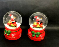 NEW 2x 4.5cm Christmas Snow Globe Water Crystal Ball Xmas Santa w Train
