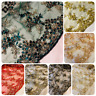 """Embroided Pearl Beaded double Scalloped Bridal lace Fabric 44"""" wide Net Tulle"""