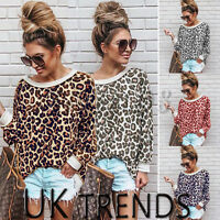 UK Women Off Shoulder Ladies Leopard print Top Sweatshirt Oversized Jumper Long