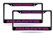 New York Giants Black Metal (2) Laser License Plate Frame Set