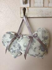 Handmade Fabric Hanging Hearts x2 Shabby Grey Floral Chic 13cm Wedding Gift Pair
