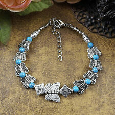 Hot Fashion Tibetan Silver Jewelry Beads Bangle Turquoise Chain Bracelets S45