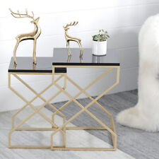 Nordic Style Gold Metal Frame White/Black Wood Top Square Sofa Side Tables S/L