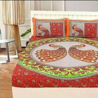 King Size Peacock Mandala Hippie Gypsy Indian Quilt Duvet Cover Bedding Set Art