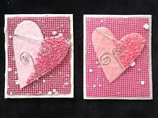 2 Valentine Sweetheart Card Toppers hearts wedding Baby girl Cards gift bag pink