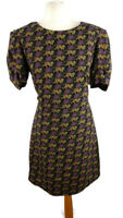 M&S Size 14 Black Purple Short Sleeve Round Neck Big Cat Print Dress