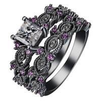 Unisex 18K Black Gold Plated White Sapphire Amethyst Wedding Ring Set Size 6-10