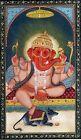 Lord Ganesha Painting Handmade Indian Miniature Hindu Religion Gouache On Silk