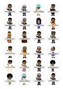 24 edible Black History Month D2 Iced Icing Fondant 4cm Cupcake Toppers Cake