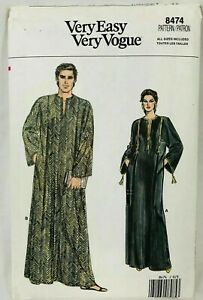 Vogue Sewing Pattern 8474 Misses' Men's Loose-fitting Maxi Caftans Sizes XS-XL
