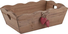 Wooden Trug Shabby Vintage Box Hanging Red Hearts Handles Wedding Storage Holder