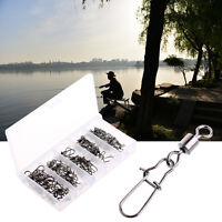 60PCS Fishing Bearing Rolling Swivel Snap Fishhook Lure Connector Fish Tackle