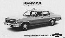 Print.  1973 New Chevrolet Nova Taxi auto ad