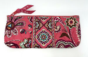 Vera Bradley CALL ME CORAL Zip Cosmetic Bag Lined Brush & Pencil Case Pouch VGC