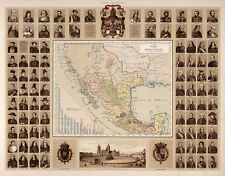 """1885 Map New Spain Surrounding Mexico Wall Poster Print Decor History 11""""x14"""""""