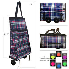 Folding Shopping Cart Trolley Bag with Wheels with Compact Mirror