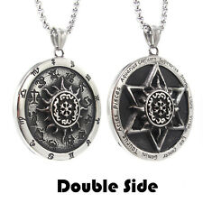 MENDEL Vintage Stainless Steel Astrology Zodiac Sign Hexagram Pendant Necklace
