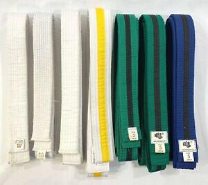 Martial Arts Karate Belts White Green Blue - Lot of 7