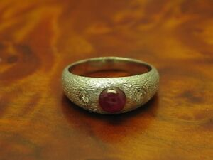 14kt 585 White Gold Ring With 0,30ct Brilliant & 1,50ct Ruby Trim/ 6,8g/ RG55, 5