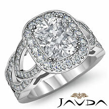 Sturdy Cushion Diamond Solid Engagement Ring EGL G Color VS2 Platinum 950 2.25ct