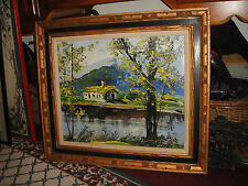 Vintage Morris Katz Oil Painting On Board-Framed-Home By The Water-1979-LQQK