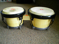 "Bongo Drums 7"" and 9"" Heads Tunable Natural Color (Wood Finish)"