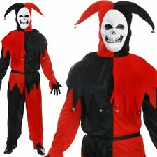 Evil Jester Red And Black Halloween Costume Adult Fancy Dress Mens Outfit Circus