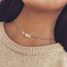Women Elegant Crystal Pendant Love Heart Necklace Short Silver Chain Jewellery