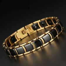 Men's Gold Tungsten Carbide Black Ceramic Magnetic Health Therapy Link Bracelet