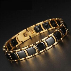 Men's Gold Tungsten Carbide Black Ceramic Magnetic Health Therapy Link Bracelet