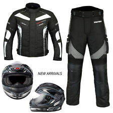 Motorbike Textile Suit Full Face Helmet Motorcycle Waterproof Jacket Trouser New