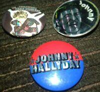JOHNNY HALLYDAY RARE LOT DE 3 BAGDES VINTAGE // LIRE L ANNONCE