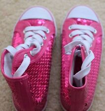 Dance Pink Glitter Sparkle Silver Girl Lace up short boots Sneaker Wedge shoes 1