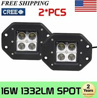 2X 16W CREE Square Flush Mount LED Work Light Spot Beam OffRoad Fog SUV 4WD Lamp