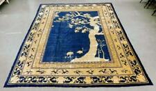 Antique Chinese Blue Art Deco Wool Oriental Rug