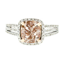 14k TT Gold 3.10ctw GIA Fancy Brown Cushion Diamond Solitaire Engagement Ring