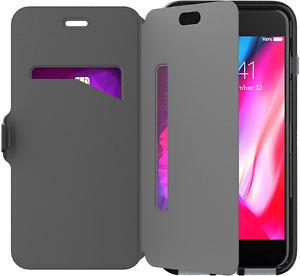 TECH21 IPHONE 7 + 8 PLUS EVO BLACK FLIP WALLET COVER CASE FLEXSHOCK CARD STORAGE
